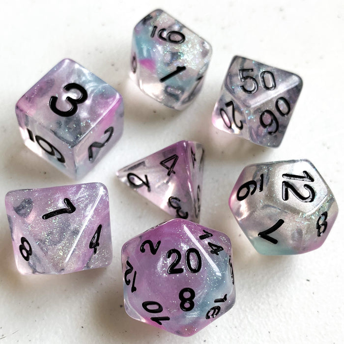 Luminous Chrome Polyhedral RPG Dice Set