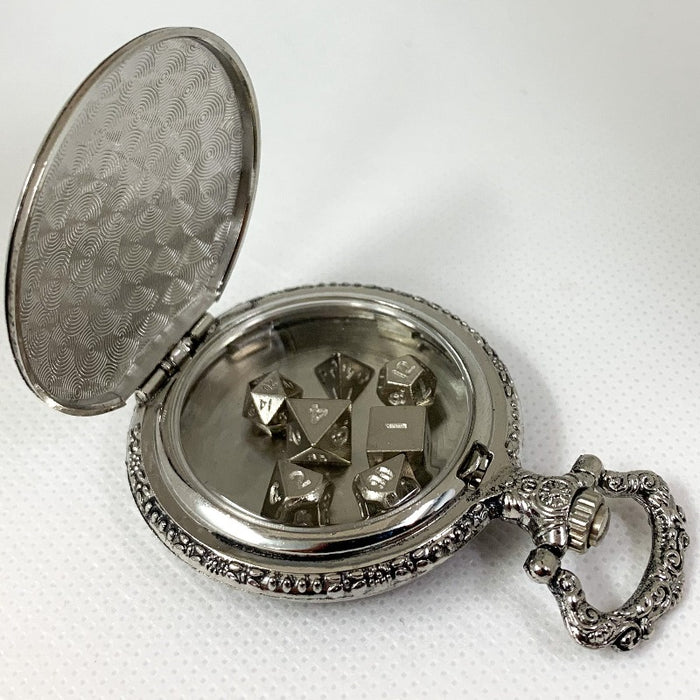 Silver Steampunk Style Pocket Watch Shell with Set of Metal Micro Polyhedral Dice