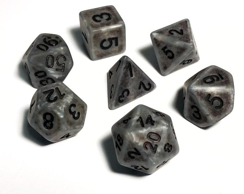 Ancient Silver Polyhedral RPG Dice Set