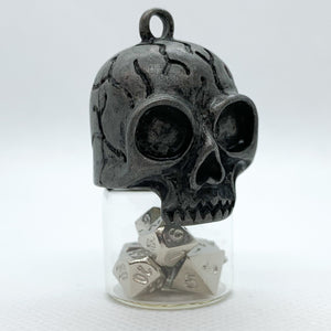 Mini Skull Vial Pendant with Metal Micro Dice Set