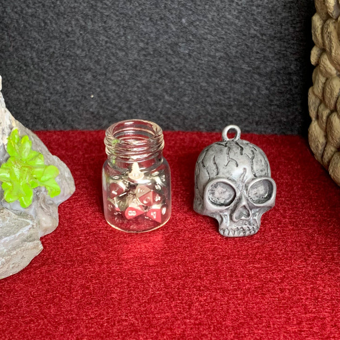 Mini Skull Vial Pendant with Set of 10 Micro d10 Dice