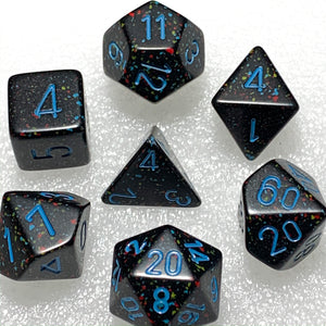 Speckled Blue Stars Polyhedral RPG Dice Set