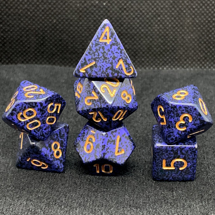 Speckled Golden Cobalt Polyhedral RPG Dice Set