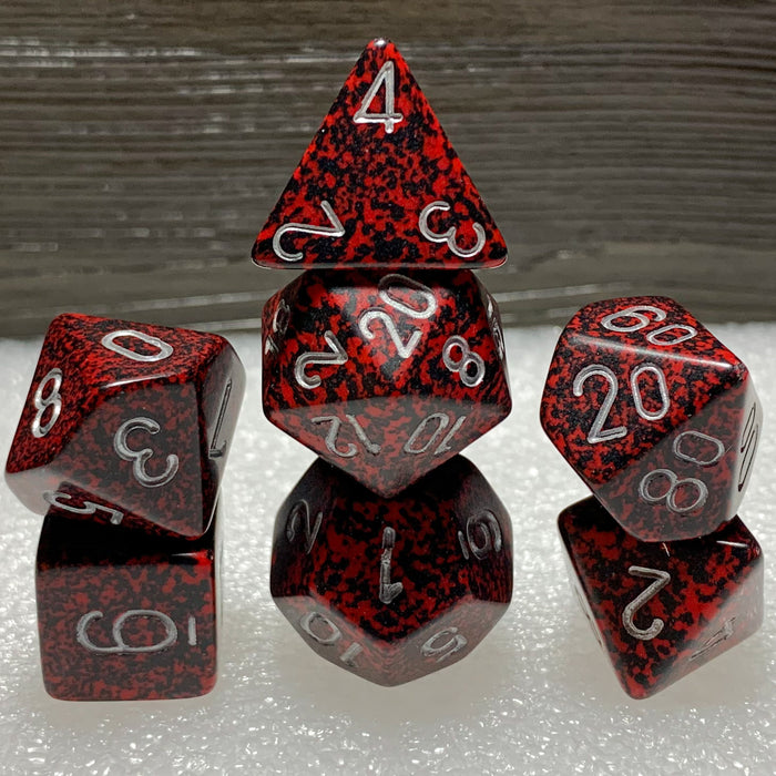 Speckled Silver Volcano Polyhedral RPG Dice Set