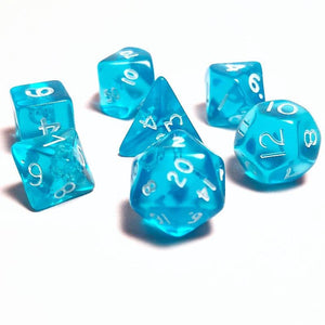 Translucent Teal 10mm Polyhedral RPG Dice Set