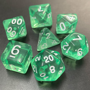 Translucent Green Polyhedral RPG Dice Set