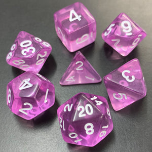 Translucent Purple Polyhedral RPG Dice Set