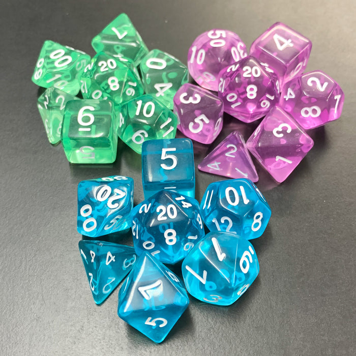Translucent Blue Polyhedral RPG Dice Set