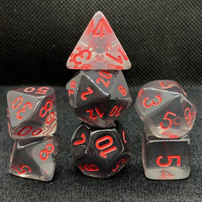 Translucent Smoke with Red Polyhedral RPG Dice Set