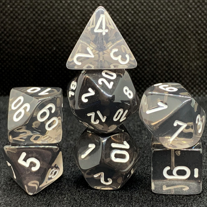 Translucent Smoke with White Polyhedral RPG Dice Set