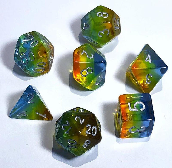 Red Yellow Blue Transparent Rainbow Layered Polyhedral RPG Dice Set