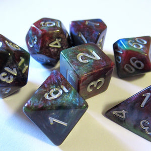 Tricolor Marble Polyhedral RPG Dice Set