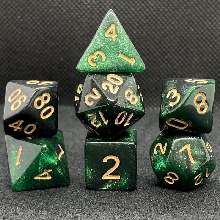 Universe in Black and Green Polyhedral RPG Dice Set