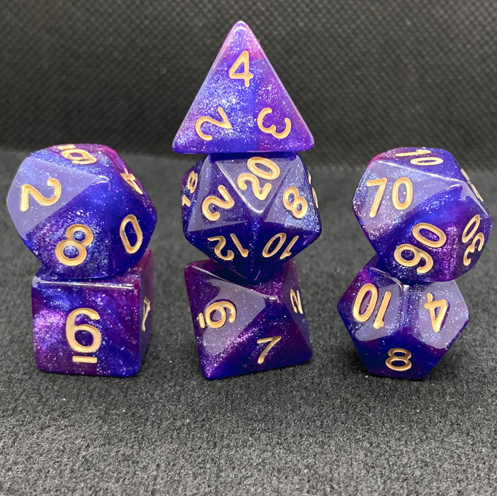 Universe in Blue and Purple Polyhedral RPG Dice Set
