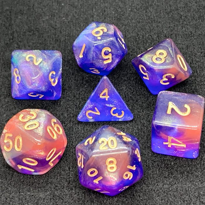 Universe in Blue and Rose Polyhedral RPG Dice Set