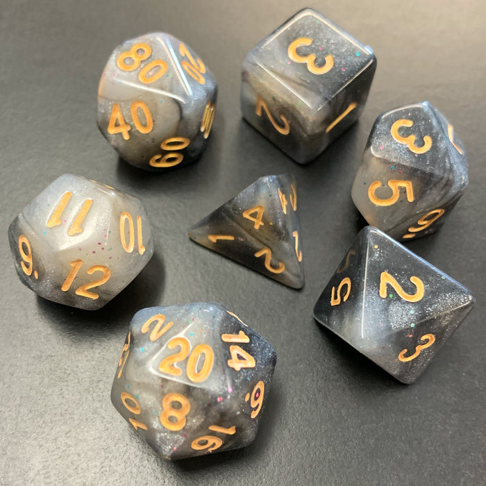 Universe in Black and White Polyhedral RPG Dice Set