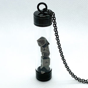 Glass Vial Pendant - Black with Metal Micro Dice Set