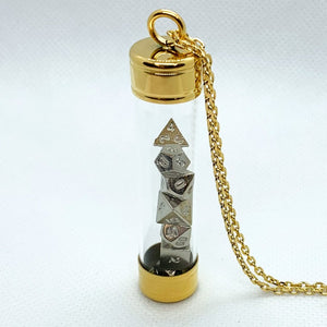 Glass Vial Pendant - Gold with Metal Micro Dice Set