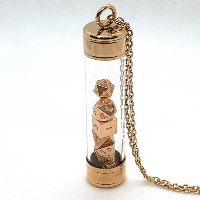 Glass Vial Pendant - Rose Gold with Metal Micro Dice Set