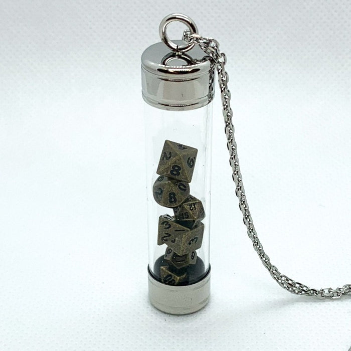 Glass Vial Pendant - Silver with Metal Micro Dice Set