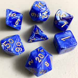 Vortex Blue Polyhedral RPG Dice Set
