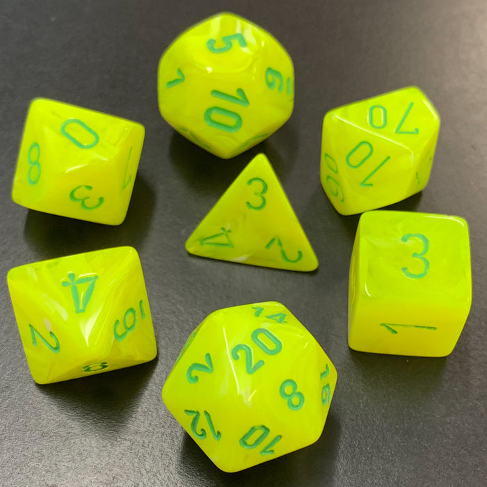 Vortex Electric Yellow Polyhedral RPG Dice Set