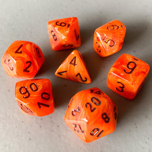 Vortex Orange Polyhedral RPG Dice Set