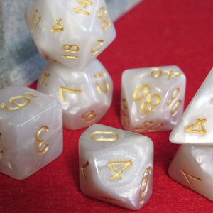 White Whisper Polyhedral RPG Dice Set
