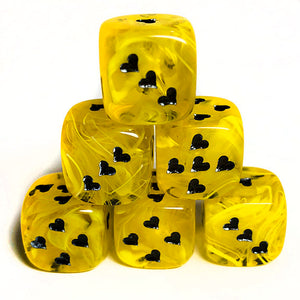 Yellow Cirrus Dice with Heart Pips