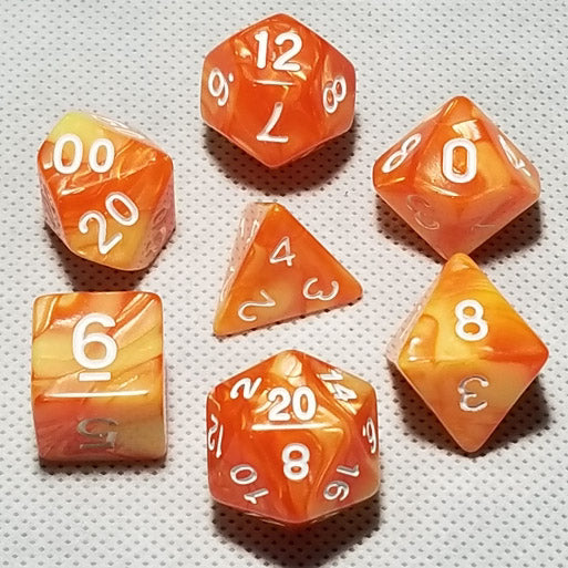 Yellow-Orange Blend Polyhedral RPG Dice Set