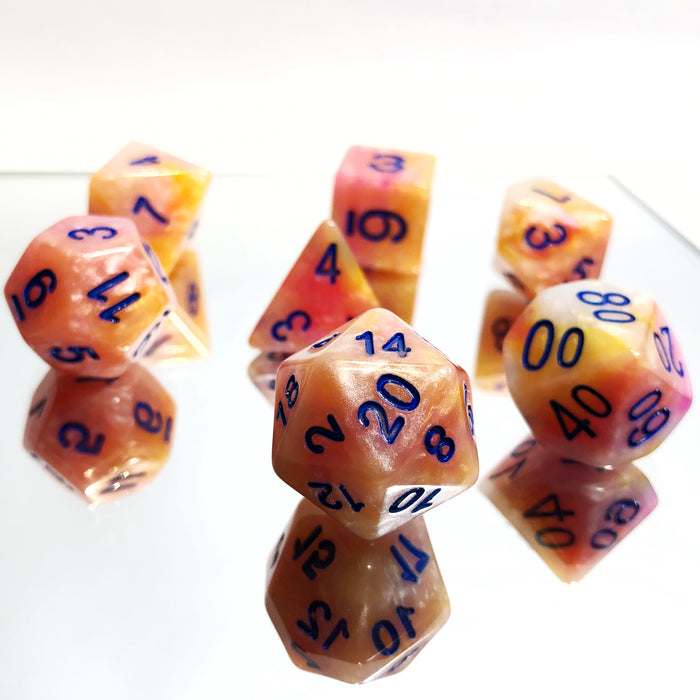 Yellow Rose Marble Polyhedral RPG Dice Set