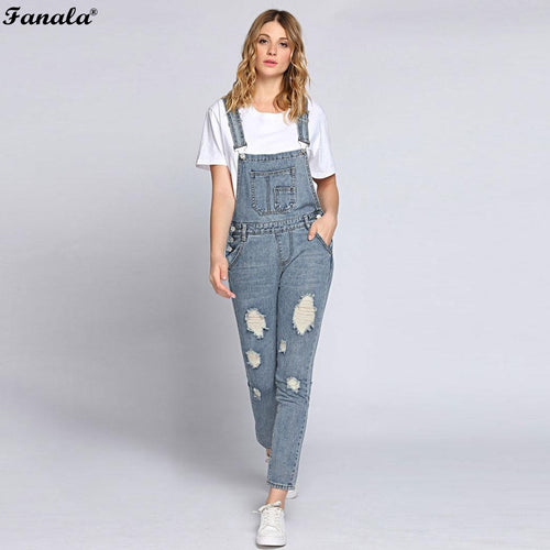 2017 Autumn Jumpsuit Women Romper Jeans Jumpsuits Ripped Bleach Wash Overall Jeans Bandage Pocket High Waist Denim Bodie Pants