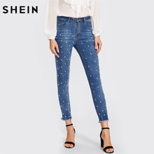 SHEIN Pearl Beaded Frayed Hem Jeans Casual Womens Skinny Jeans Denim Autumn High Waist Bleached Women Zipper Pants