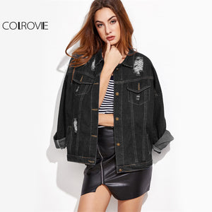 COLROVIE Ripped Casual Denim Jacket Drop Shoulder Stitch Detail Women Black Autumn Coat 2017 Single Breasted Plus Size Jacket