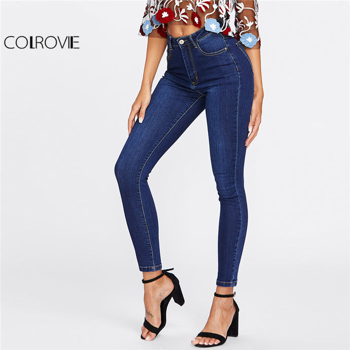 COLROVIE 2018 Spring Dark Wash Skinny Denim Jeans Female Blue High Waist Button Fly Casual Jeans Women Plain Long Pencil Pants