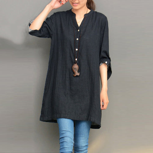 2018 Women V Neck Long Sleeve Autumn Buttons Denim Blue Shirt Vestido Cotton Linen Baggy Top Solid Blouse Pullover Plus Size