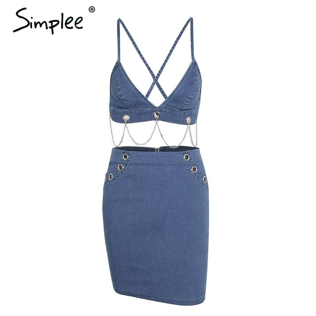 Simplee Sexy backless strap two piece denim dress women Metal chain eyelet jeans dress Skinny short summer dress female