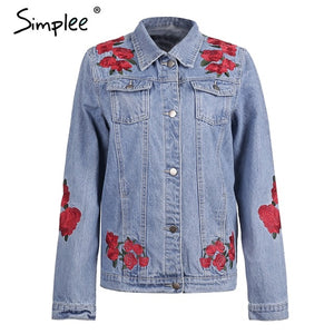 Simplee Denim blue basic jackets coat Women Casual streetwear jackets female 2017 autumn winter warm outerwear