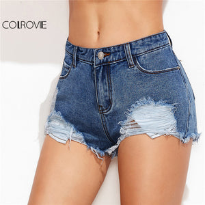 COLROVIE 2018 Low Rise Distressed Plain Mini Denim Shorts Blue Low Waist Ripped Rock Shorts Women Skinny Shorts
