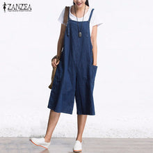 2018 ZANZEA Womens Jumpsuits Denim Blue Retro Rompers Sleeveless Adjustable Strap Pockets Button Wide Leg Calf Length Overall