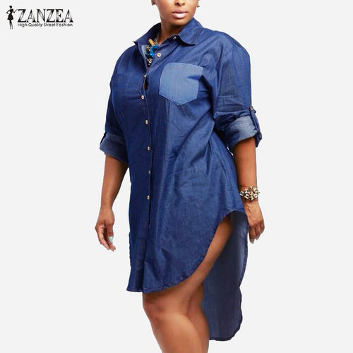 2018 Autumn Dress ZANZEA Women Vintage Denim Dress Lapel Long Sleeve Irregular Hem Long Tops Jeans Shirts Oversized Vestidos