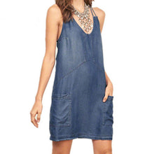 Denim Dress 2018 Summer Style Women Sexy Spaghetti Strap V Neck Backless Mini Dresses Pockets Solid Slim Vestidos