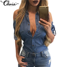 Celmia 2018 Women Spring Denim Blouse Sexy Off Shoulder Turn Down Collar Long Sleeve Blue Jeans Tops Tees Sexy Oversized Blusas