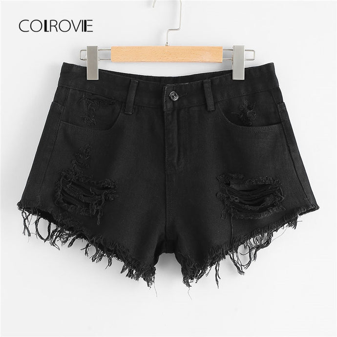 COLROVIE 2018 New Hem Ripped Denim Shorts Black Summer Mid Waist Button Fly Casual Jeans Shorts Women Clothes Black Loose Shorts