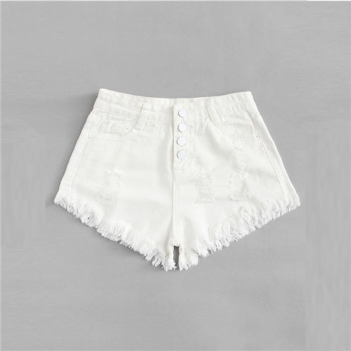COLROVIE Button Up Ripped Denim Shorts 2018 Summer Mew Beach Straight Leg Shorts Mid Waist Women Shorts Beige Casual Shorts