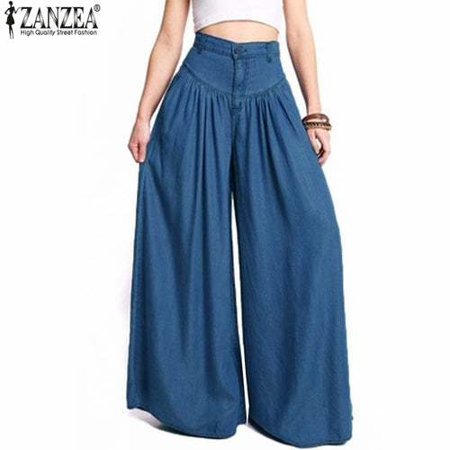 2018 ZANZEA Trousers Women High Waist Long Harem Pants Pockets Loose Pleated Denim Blue Wide Leg Pants Party Palazzo Plus Size