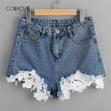COLROVIE Contrast Lace Frayed Hem Blue Denim Shorts 2018 New Summer Hollow Out Button Fly Casual Shorts Mid Waist Women Shorts