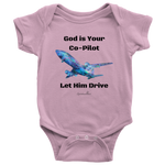 God Is Your Co-Pilot Baby Bodysuit [Black]
