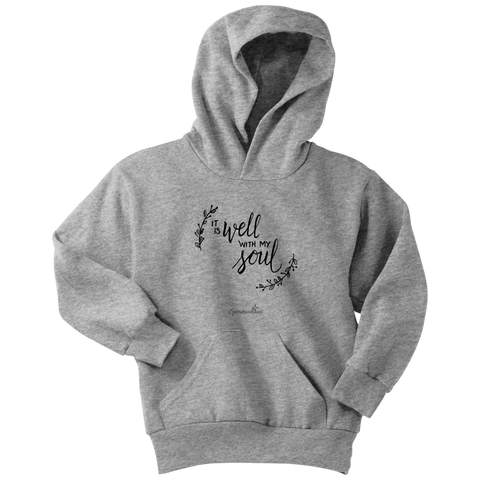 It Is Well With My Soul Youth Hoodie [Black]