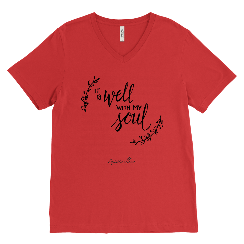 It Is Well With My Soul Men's V-Neck [Black]